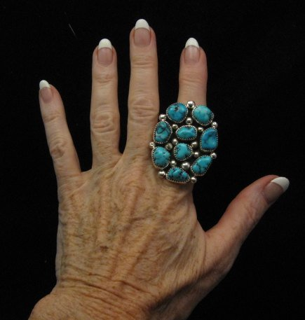 Image 1 of Huge Native American Navajo Kingman Turquoise Nugget Ring Sz8