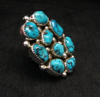 Image 2 of Huge Native American Navajo Kingman Turquoise Nugget Ring Sz8