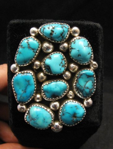 Image 3 of Huge Native American Navajo Kingman Turquoise Nugget Ring Sz8
