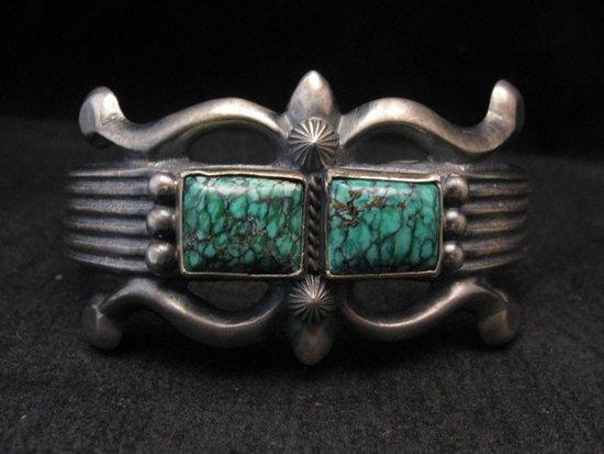 Image 1 of Native American Navajo Sandcast Turquoise Silver Bracelet, Harrison Bitsue