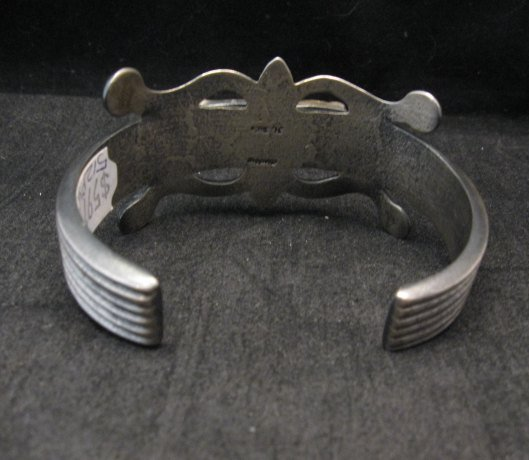 Image 4 of Native American Navajo Sandcast Turquoise Silver Bracelet, Harrison Bitsue