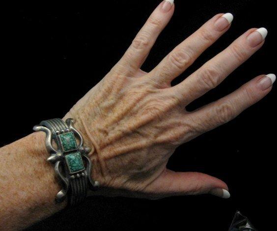 Image 3 of Native American Navajo Sandcast Turquoise Silver Bracelet, Harrison Bitsue