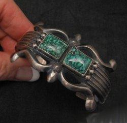 Native American Navajo Sandcast Turquoise Silver Bracelet, Harrison Bitsue