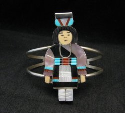 Madeline Beyuka Zuni Native American Multi Inlay Olla Maiden Bracelet