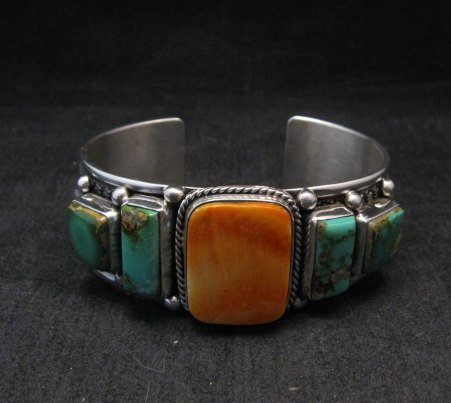 Image 1 of Navajo Turquoise Spiny Oyster Silver Bracelet, Guy Hoskie