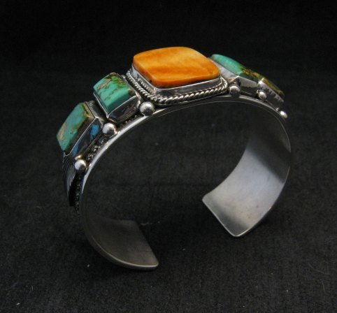 Image 3 of Navajo Turquoise Spiny Oyster Silver Bracelet, Guy Hoskie