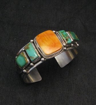 Image 0 of Navajo Turquoise Spiny Oyster Silver Bracelet, Guy Hoskie