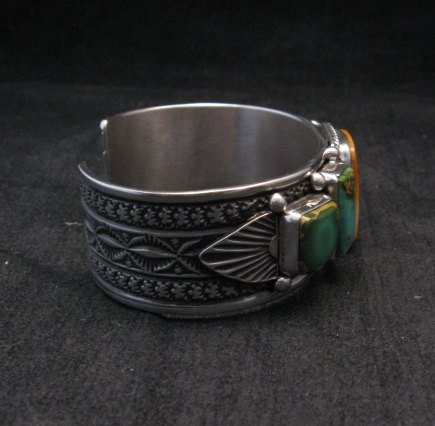 Image 4 of Navajo Turquoise Spiny Oyster Silver Bracelet, Guy Hoskie