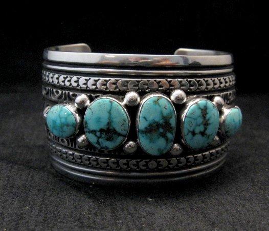 Image 5 of Darryl Becenti Navajo Kingman Turquoise Sterling Silver Cuff Bracelet