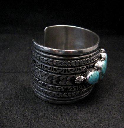 Image 3 of Darryl Becenti Navajo Kingman Turquoise Sterling Silver Cuff Bracelet