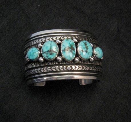 Image 0 of Darryl Becenti Navajo Kingman Turquoise Sterling Silver Cuff Bracelet
