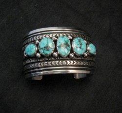 Darryl Becenti Navajo Kingman Turquoise Sterling Silver Cuff Bracelet