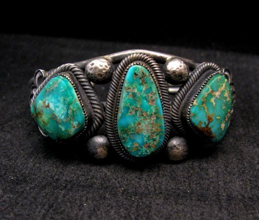 Image 0 of Native American Navajo Fox Turquoise Sterling Silver Bracelet, Leon Martinez