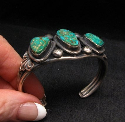 Image 5 of Native American Navajo Fox Turquoise Sterling Silver Bracelet, Leon Martinez