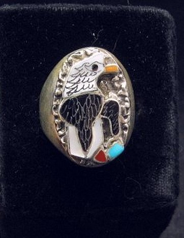 Image 0 of Native American Inlaid Bald Eagle Sterling Silver Ring sz10-1/2