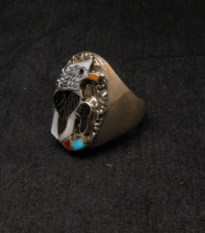 Image 1 of Native American Inlaid Bald Eagle Sterling Silver Ring sz10-1/2