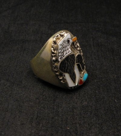 Image 2 of Native American Inlaid Bald Eagle Sterling Silver Ring sz10-1/2