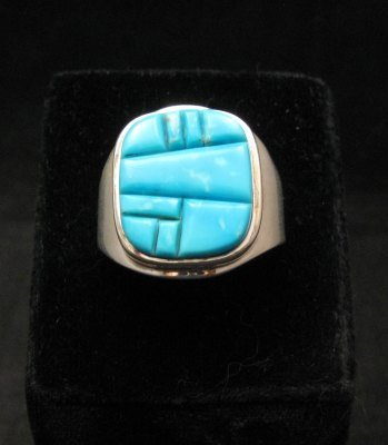 Image 0 of Native American Navajo Turquoise Inlay Ring Sz13 by Albert Tapaha