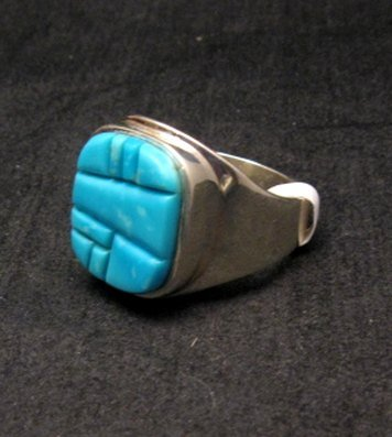 Image 1 of Native American Navajo Turquoise Inlay Ring Sz13 by Albert Tapaha