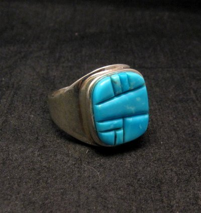 Image 3 of Native American Navajo Turquoise Inlay Ring Sz13 by Albert Tapaha