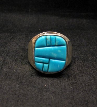 Image 4 of Native American Navajo Turquoise Inlay Ring Sz13 by Albert Tapaha