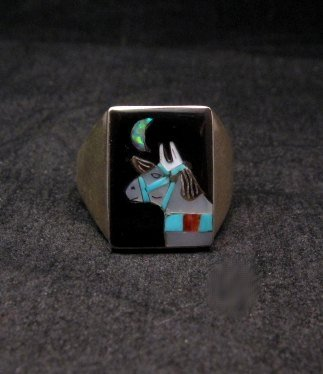 Image 0 of Zuni Native American - Bobby Concho - Multigem Inlay Horse Ring Sz11-1/2