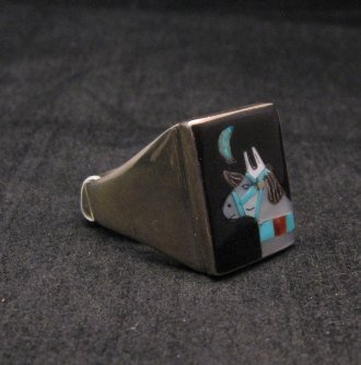 Image 1 of Zuni Native American - Bobby Concho - Multigem Inlay Horse Ring Sz11-1/2