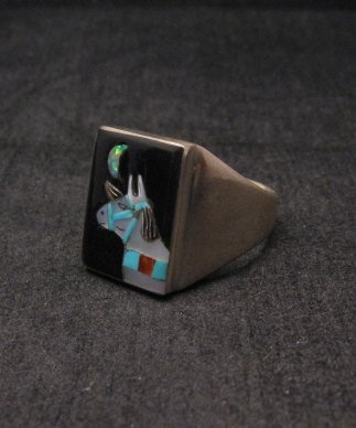 Image 2 of Zuni Native American - Bobby Concho - Multigem Inlay Horse Ring Sz11-1/2