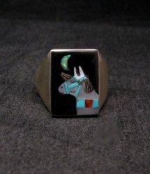 Zuni Native American - Bobby Concho - Multigem Inlay Horse Ring Sz11-1/2