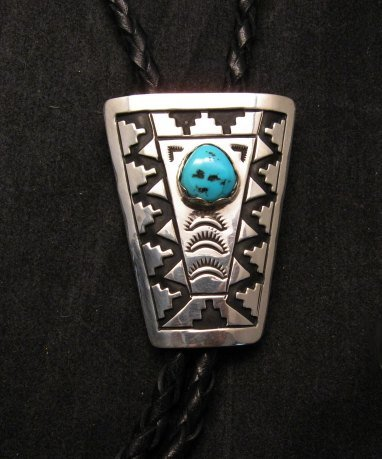 Image 0 of Navajo Turquoise Sterling Silver Bolo, Tommy & Rosita Singer