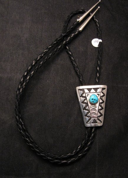 Image 1 of Navajo Turquoise Sterling Silver Bolo, Tommy & Rosita Singer