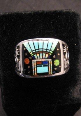 Image 0 of Navajo Yei Kachina Inlay Starry Nite Ring sz12-1/2, Vance King & Rick Tolino