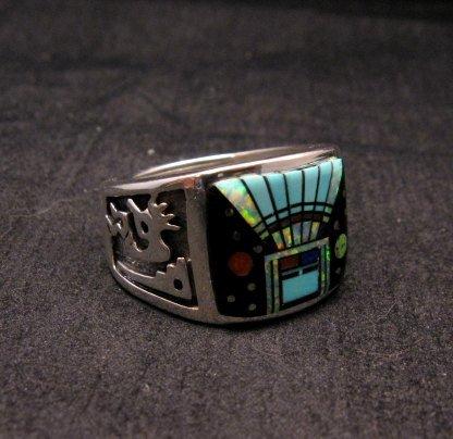Image 1 of Navajo Yei Kachina Inlay Starry Nite Ring sz12-1/2, Vance King & Rick Tolino