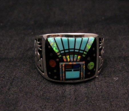 Image 4 of Navajo Yei Kachina Inlay Starry Nite Ring sz12-1/2, Vance King & Rick Tolino