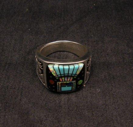 Image 5 of Navajo Yei Kachina Inlay Starry Nite Ring sz12-1/2, Vance King & Rick Tolino