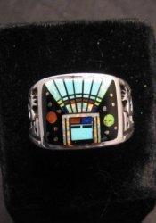 Navajo Yei Kachina Inlay Starry Nite Ring sz12-1/2, Vance King & Rick Tolino