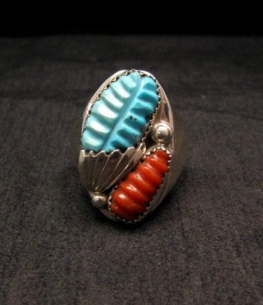 Image 0 of Zuni Native American Carved Turquoise & Coral Ring, Loyolita Othole, sz13-1/2