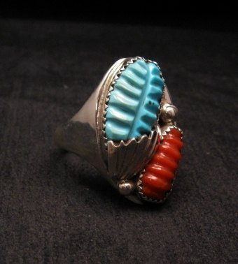 Image 1 of Zuni Native American Carved Turquoise & Coral Ring, Loyolita Othole, sz13-1/2