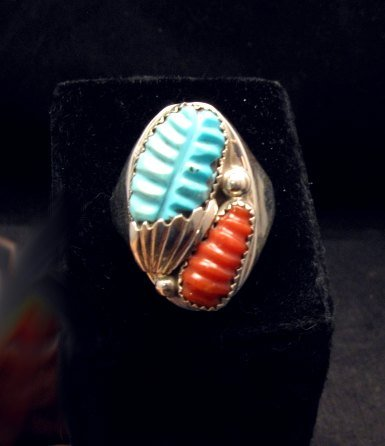 Image 3 of Zuni Native American Carved Turquoise & Coral Ring, Loyolita Othole, sz13-1/2