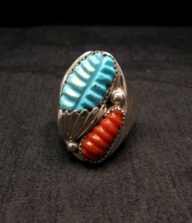 Zuni Native American Carved Turquoise & Coral Ring, Loyolita Othole, sz13-1/2