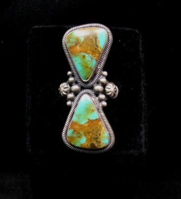 Image 0 of Huge Gloria Begay Navajo 2-stone Turquoise Sterling Silver Ring sz8-1/2