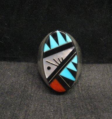 Image 0 of Large Zuni Multi Stone Inlay Ring, Cleo Kallestewa, sz10-3/4