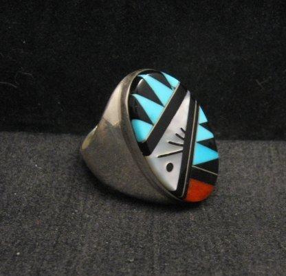 Image 1 of Large Zuni Multi Stone Inlay Ring, Cleo Kallestewa, sz10-3/4