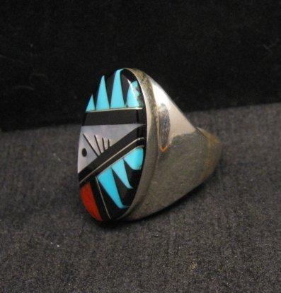 Image 2 of Large Zuni Multi Stone Inlay Ring, Cleo Kallestewa, sz10-3/4