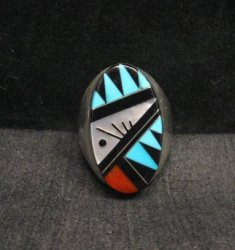Large Zuni Multi Stone Inlay Ring, Cleo Kallestewa, sz10-3/4