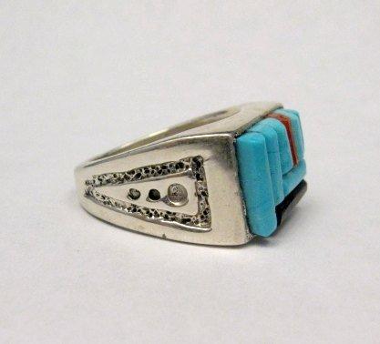 Image 4 of Zuni Turquoise Multi Cobblestone Inlay Silver Ring sz10-1/2, Bevis Tsadiasi