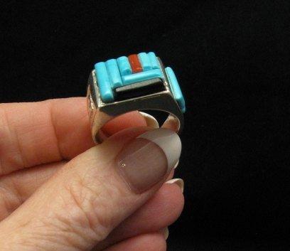 Image 0 of Zuni Turquoise Multi Cobblestone Inlay Silver Ring sz10-1/2, Bevis Tsadiasi