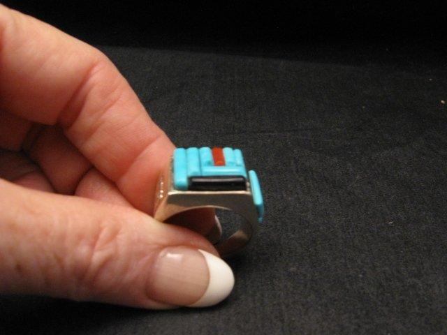 Image 6 of Zuni Turquoise Multi Cobblestone Inlay Silver Ring sz10-1/2, Bevis Tsadiasi