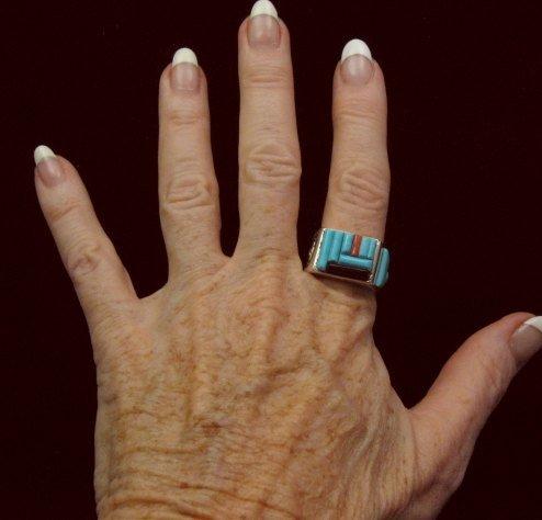 Image 2 of Zuni Turquoise Multi Cobblestone Inlay Silver Ring sz10-1/2, Bevis Tsadiasi
