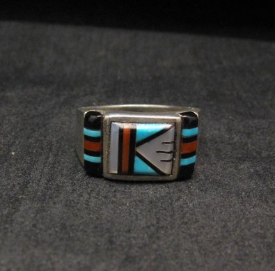Image 0 of Zuni Native American Multi Stone Inlay Ring, sz9-3/4